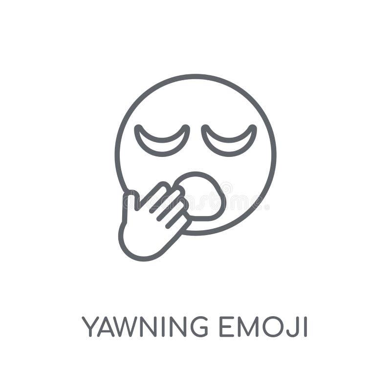 Ícone linear de bocejo do emoji Engodo de bocejo do logotipo do emoji do esboço moderno ilustração royalty free
