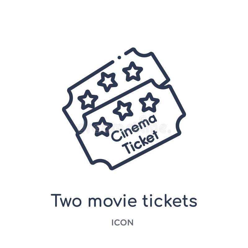 Ícone linear de dois bilhetes do filme da coleção do esboço do cinema Linha fina dois vetor dos bilhetes do filme isolado no fund ilustração do vetor