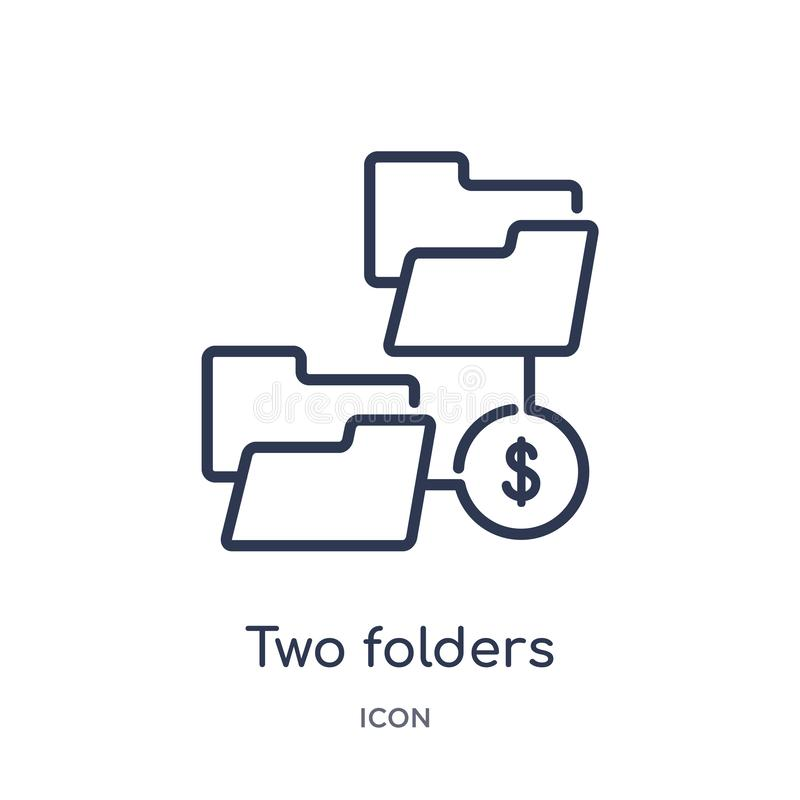 Ícone linear de dois dobradores da coleção do esboço do negócio Linha fina dois ícone dos dobradores isolado no fundo branco Dois ilustração royalty free