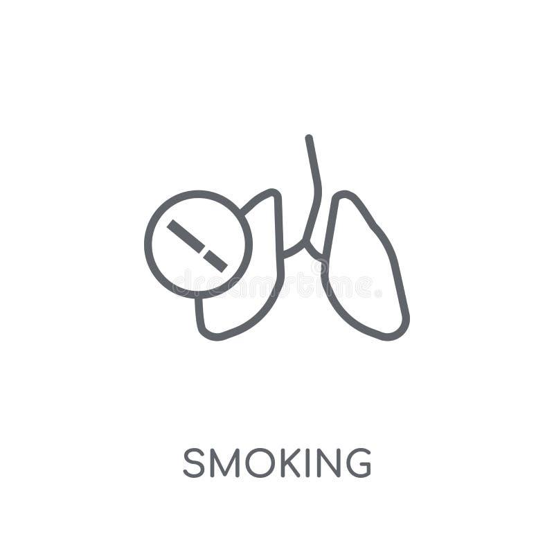 Ícone linear de fumo Conceito de fumo do logotipo do esboço moderno no whit ilustração do vetor
