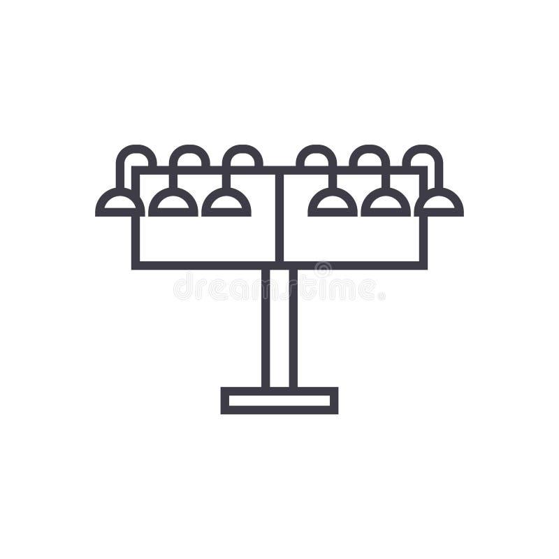 Ícone linear de giro do billborad, sinal, símbolo, vetor no fundo isolado ilustração do vetor