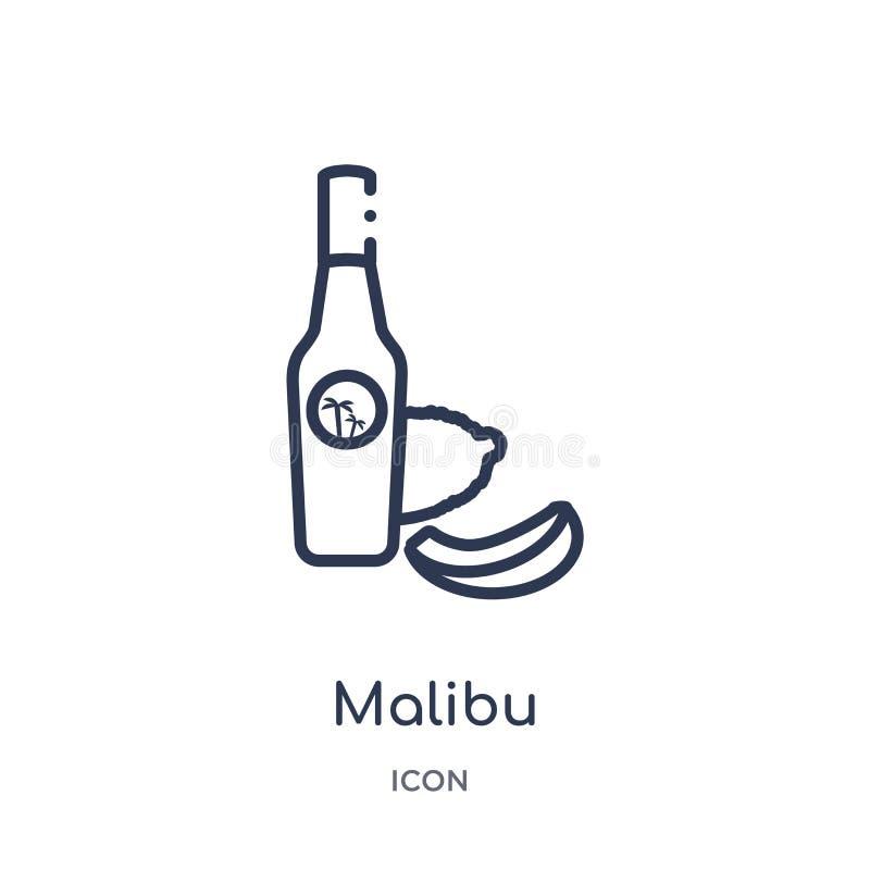 Ícone linear de malibu da coleção do esboço das bebidas Linha fina vetor de malibu isolado no fundo branco malibu na moda ilustração stock
