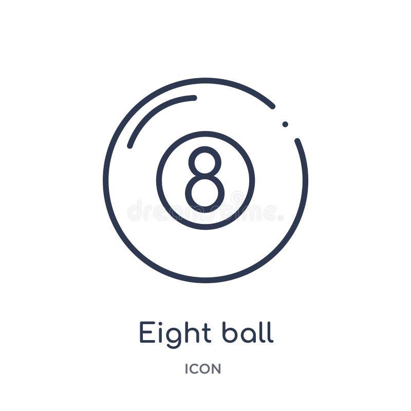 Ícone linear de oito bolas do entretenimento e da coleção do esboço da arcada Linha fina oito vetor da bola isolado no fundo bran ilustração stock