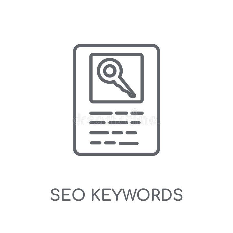 Ícone linear de SEO Keywords Conce moderno do logotipo de SEO Keywords do esboço ilustração stock