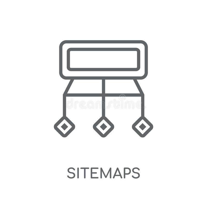 Ícone linear de Sitemaps Conceito moderno do logotipo de Sitemaps do esboço no wh ilustração royalty free