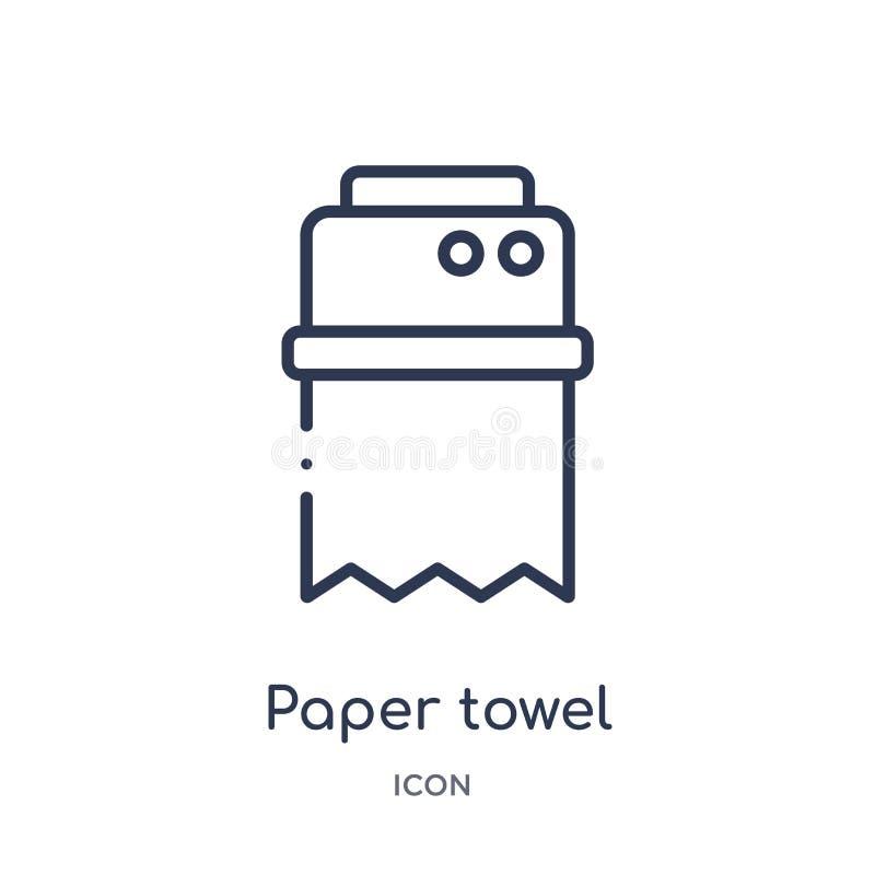 Ícone linear de toalha de papel da coleção do esboço da higiene Linha fina ícone de toalha de papel isolado no fundo branco Toalh ilustração do vetor