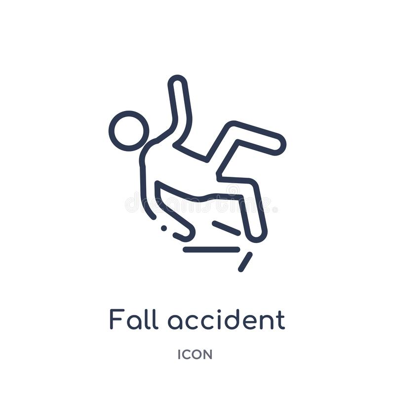 Ícone linear do acidente da queda da coleção do esboço do seguro Linha fina ícone do acidente da queda isolado no fundo branco Qu ilustração stock