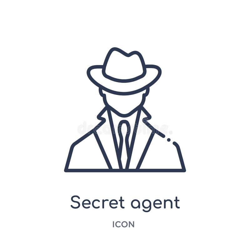 Ícone linear do agente secreto da coleção do esboço do exército e da guerra Linha fina vetor do agente secreto isolado no fundo b ilustração royalty free