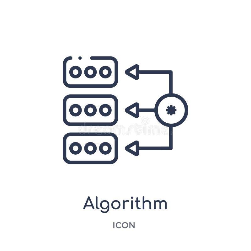Ícone linear do algoritmo da coleção do esboço da inteligência artificial Linha fina vetor do algoritmo isolado no fundo branco ilustração do vetor