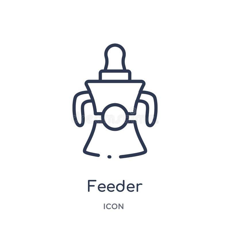 Ícone linear do alimentador da coleção do esboço da criança e do bebê Linha fina ícone do alimentador isolado no fundo branco ali ilustração do vetor