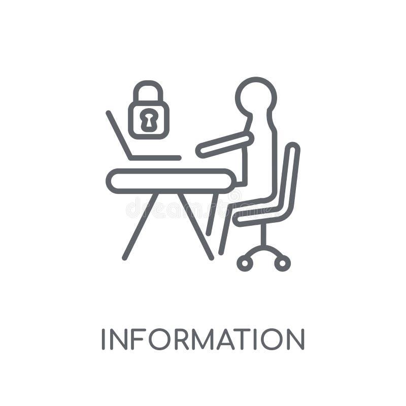 Ícone linear do analista de segurança da informação Esboço moderno Informa ilustração stock