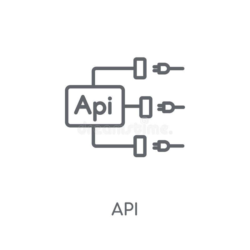 Ícone linear do Api Conceito moderno do logotipo do Api do esboço no backgr branco ilustração stock
