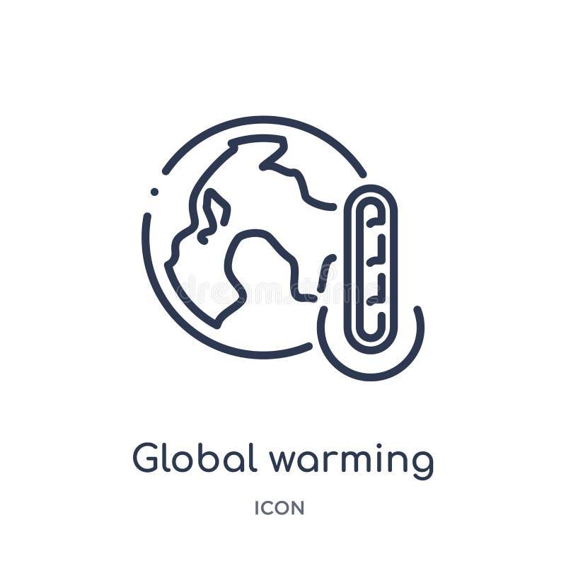 Ícone linear do aquecimento global da coleção do esboço da ecologia Linha fina vetor do aquecimento global isolado no fundo branc ilustração stock