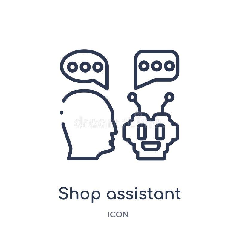 Ícone linear do assistente de loja do intellegence artificial e da coleção futura do esboço da tecnologia Linha fina vetor do ass ilustração do vetor