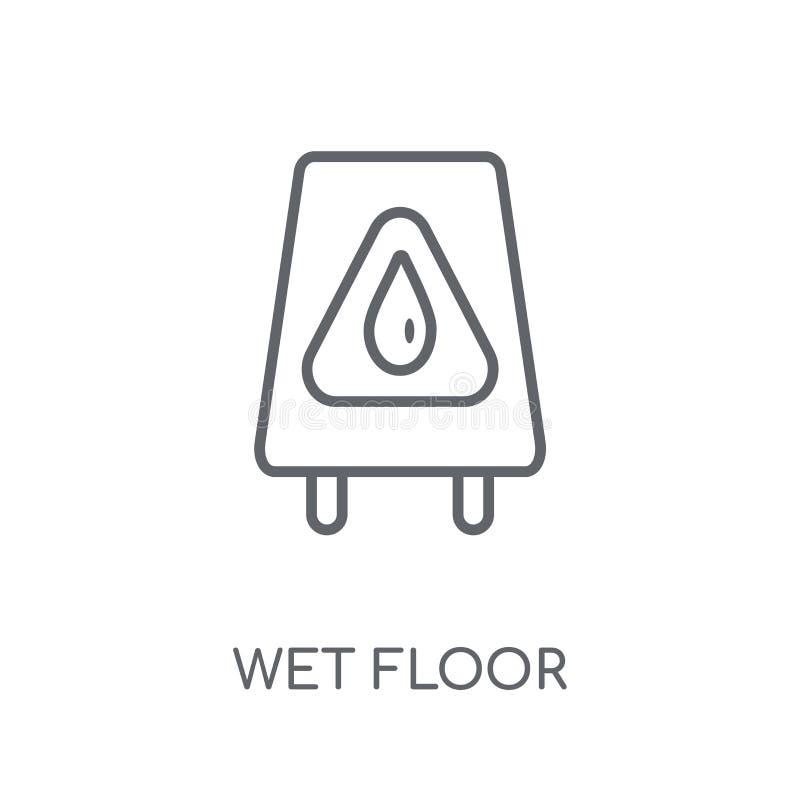 Ícone linear do assoalho molhado Conceito molhado do logotipo do assoalho do esboço moderno sobre ilustração stock