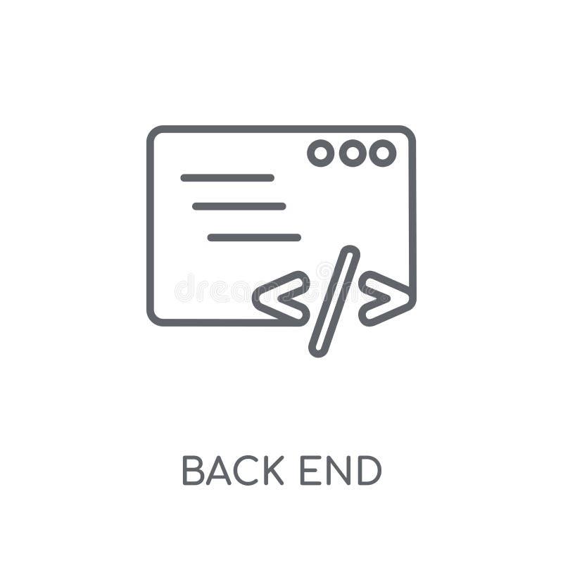 Ícone linear do back-end Conceito moderno do logotipo do back-end do esboço no wh ilustração royalty free