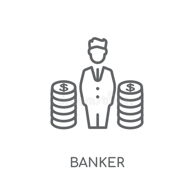 Ícone linear do banqueiro Conceito moderno do logotipo do banqueiro do esboço no branco ilustração royalty free