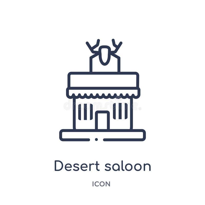 Ícone linear do bar do deserto da coleção do esboço do deserto Linha fina vetor do bar do deserto isolado no fundo branco Deserto ilustração do vetor