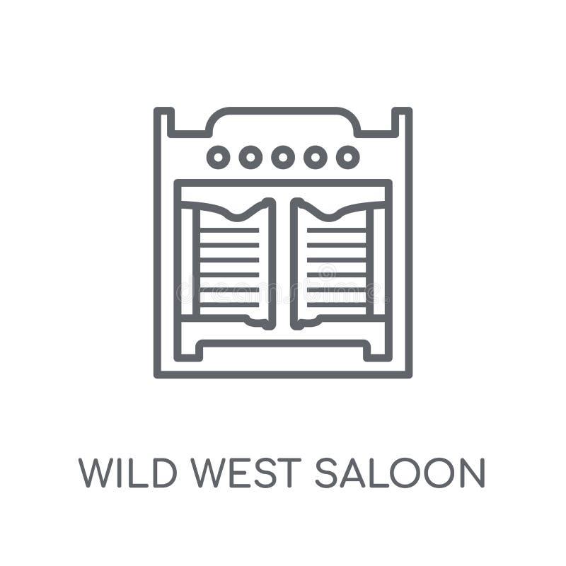 ícone linear do bar ocidental selvagem Lo ocidental selvagem do bar do esboço moderno ilustração stock