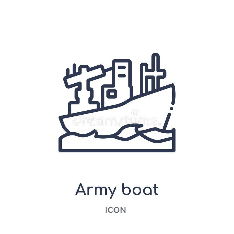 Ícone linear do barco do exército da coleção do esboço do exército e da guerra Linha fina vetor do barco do exército isolado no f ilustração do vetor