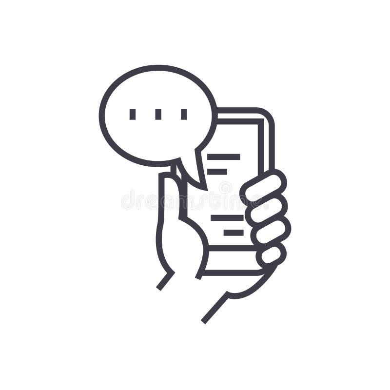 Ícone linear do bate-papo móvel, sinal, símbolo, vetor no fundo isolado ilustração royalty free
