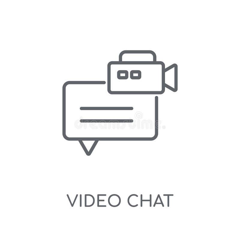 Ícone linear do bate-papo video Conceito video o do logotipo do bate-papo do esboço moderno ilustração royalty free
