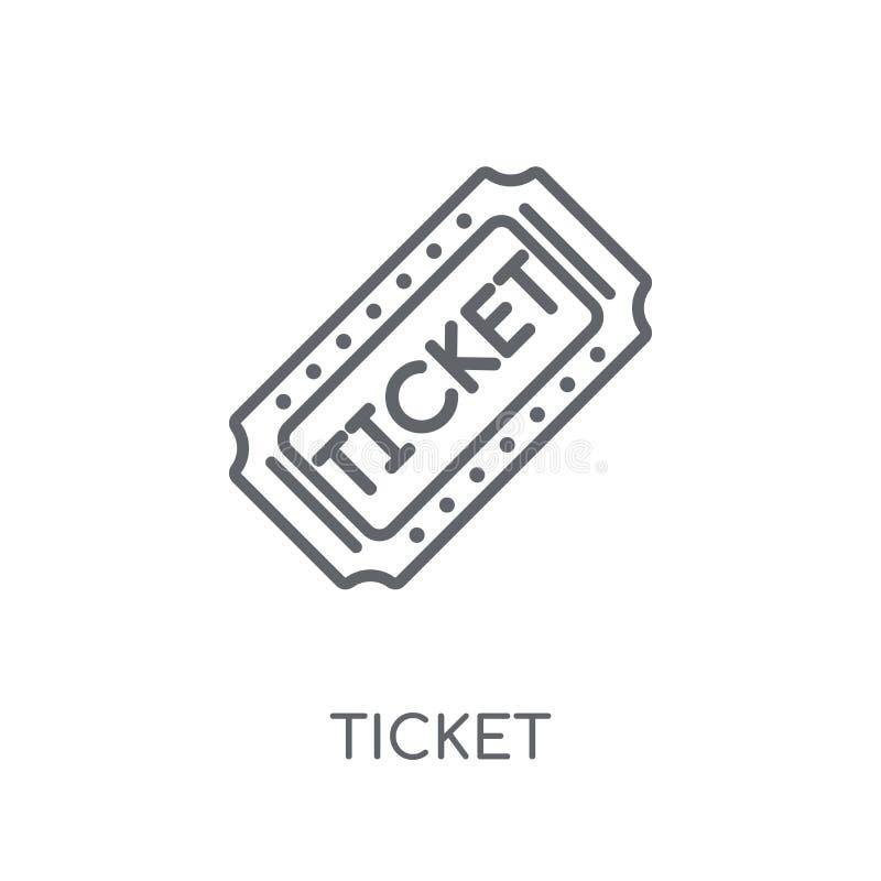 Ícone linear do bilhete Conceito moderno do logotipo do bilhete do esboço no branco ilustração do vetor