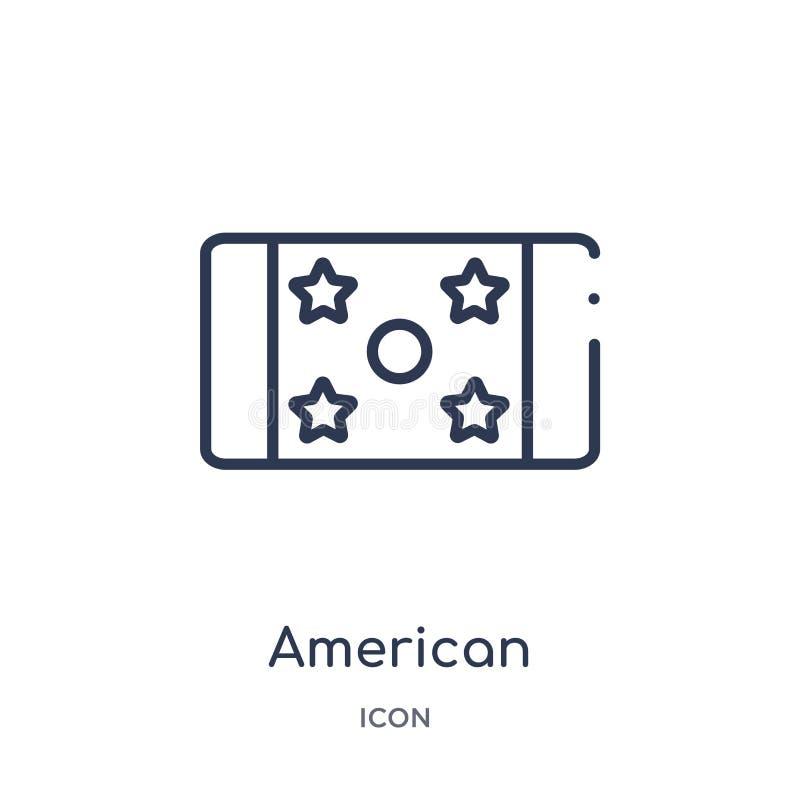 Ícone linear do bilhete do jogo de futebol americano da coleção do esboço do futebol americano Linha fina bilhete do jogo de fute ilustração stock