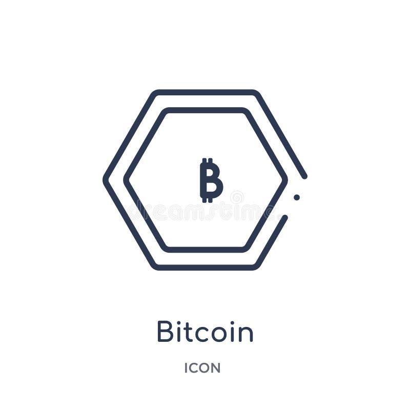 Ícone linear do bitcoin da economia de Cryptocurrency e da coleção do esboço da finança Linha fina vetor do bitcoin isolado no br ilustração do vetor