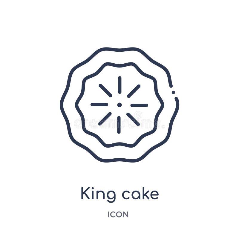 Ícone linear do bolo do rei da coleção do esboço do alimento Linha fina ícone do bolo do rei isolado no fundo branco bolo do rei  ilustração do vetor