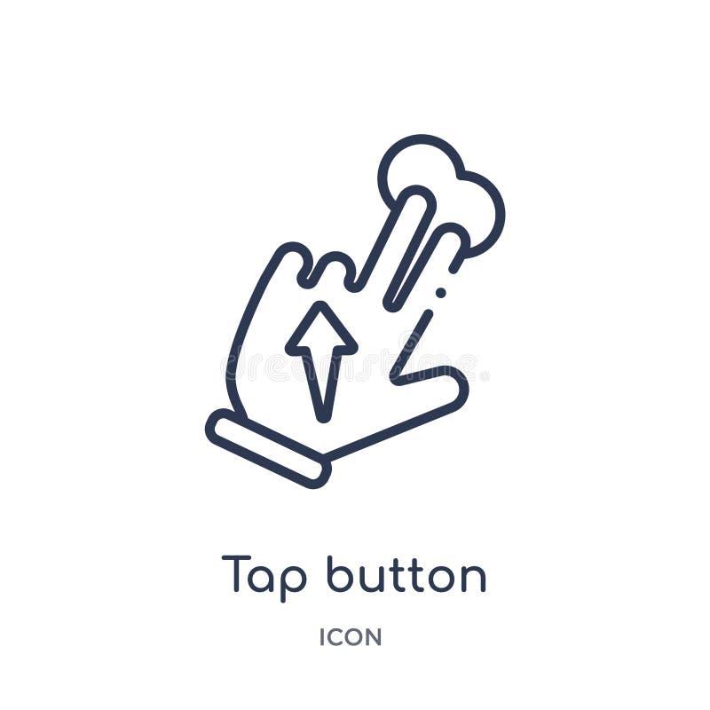 Ícone linear do botão da torneira da coleção do esboço das mãos Linha fina ícone do botão da torneira isolado no fundo branco bot ilustração do vetor
