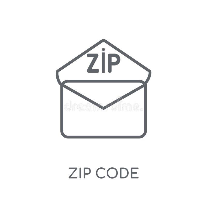 Ícone linear do código postal Conceito moderno do logotipo do código postal do esboço no wh ilustração royalty free
