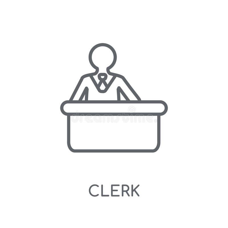 Ícone linear do caixeiro Conceito moderno do logotipo do caixeiro do esboço nos vagabundos brancos ilustração do vetor