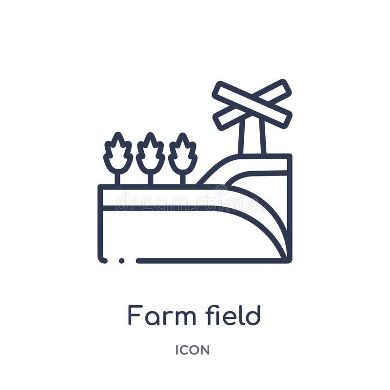 Ícone linear do campo de exploração agrícola da coleção de cultivo e de jardinagem da agricultura do esboço Linha fina vetor do c ilustração royalty free