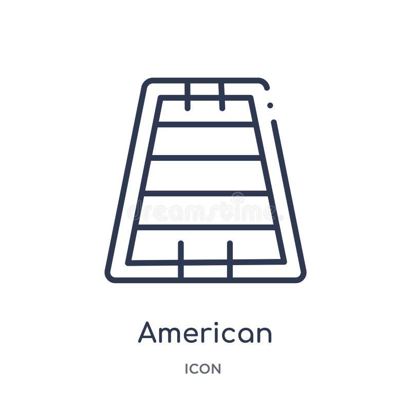 Ícone linear do campo de futebol americano da coleção do esboço do futebol americano A linha fina vetor do campo de futebol ameri ilustração do vetor