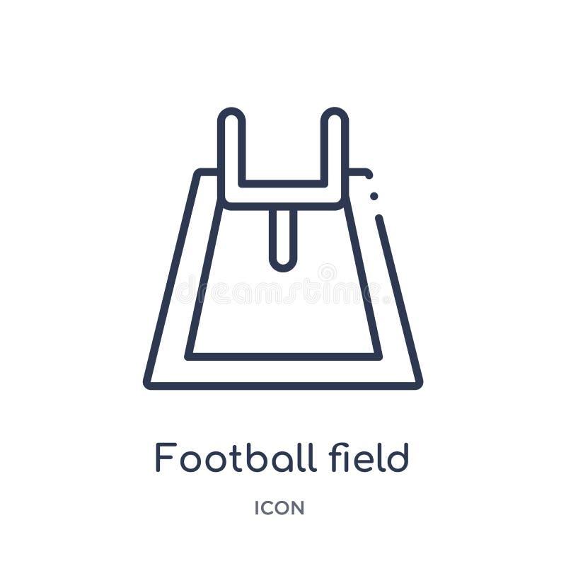 Ícone linear do campo de futebol da coleção do esboço do futebol americano Linha fina vetor do campo de futebol isolado no fundo  ilustração royalty free