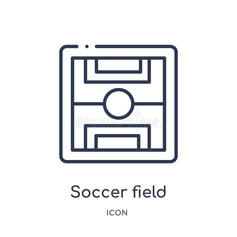 Ícone linear do campo de futebol da coleção do esboço do futebol Linha fina vetor do campo de futebol isolado no fundo branco Fut ilustração royalty free