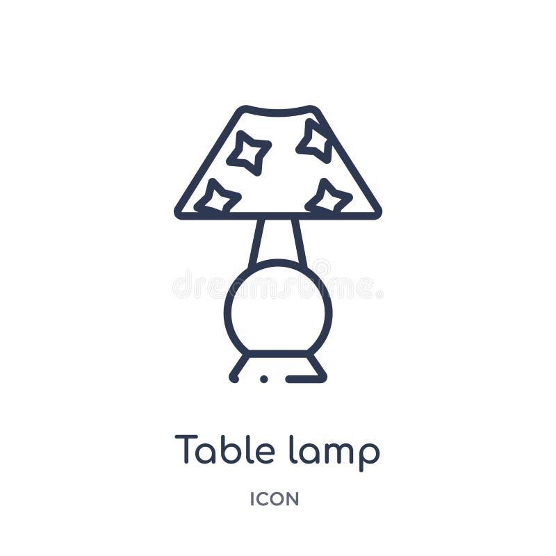 Ícone linear do candeeiro de mesa da coleção do esboço da mobília e do agregado familiar Linha fina ícone do candeeiro de mesa is ilustração do vetor