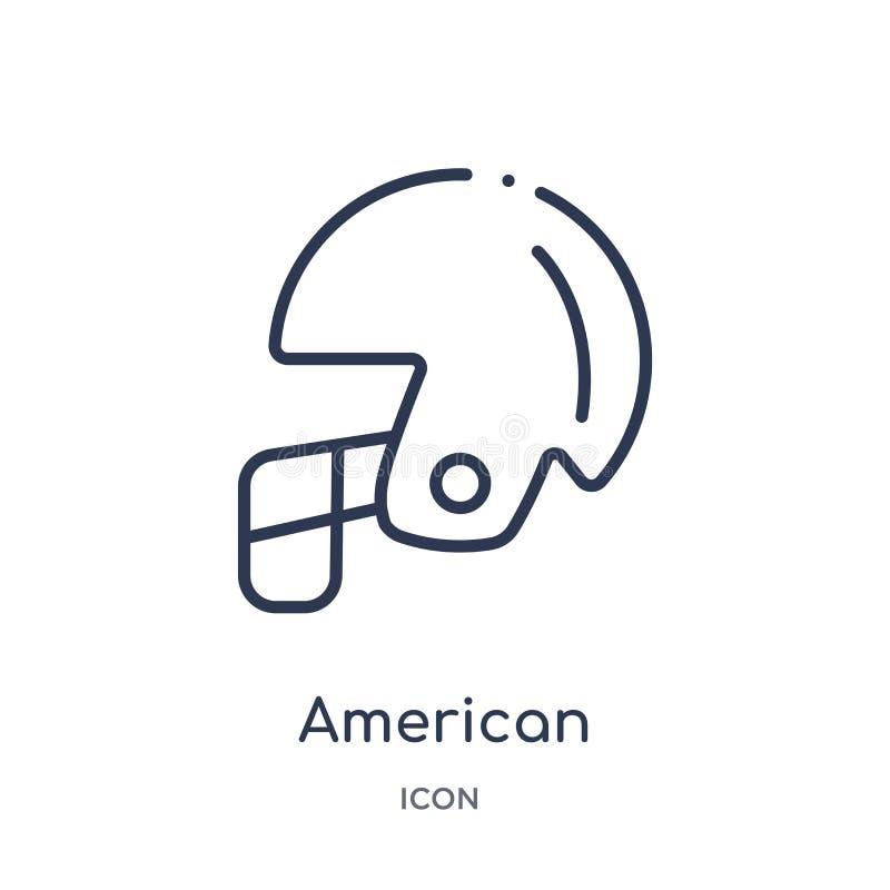 Ícone linear do capacete de futebol americano da coleção do esboço do futebol americano A linha fina vetor do capacete de futebol ilustração royalty free