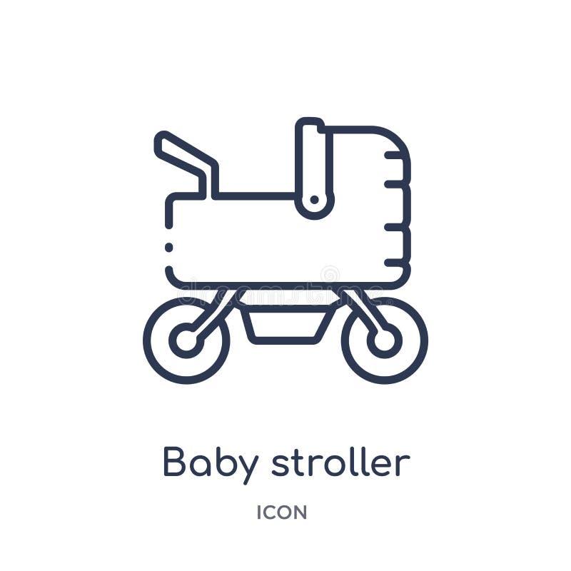 Ícone linear do carrinho de criança de bebê das crianças e da coleção do esboço do bebê Linha fina ícone do carrinho de criança d ilustração royalty free