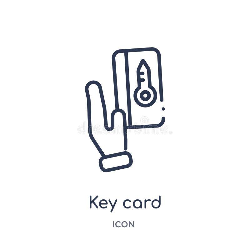 Ícone linear do cartão chave da coleção do esboço do hotel Linha fina ícone do cartão chave isolado no fundo branco cartão chave  ilustração stock