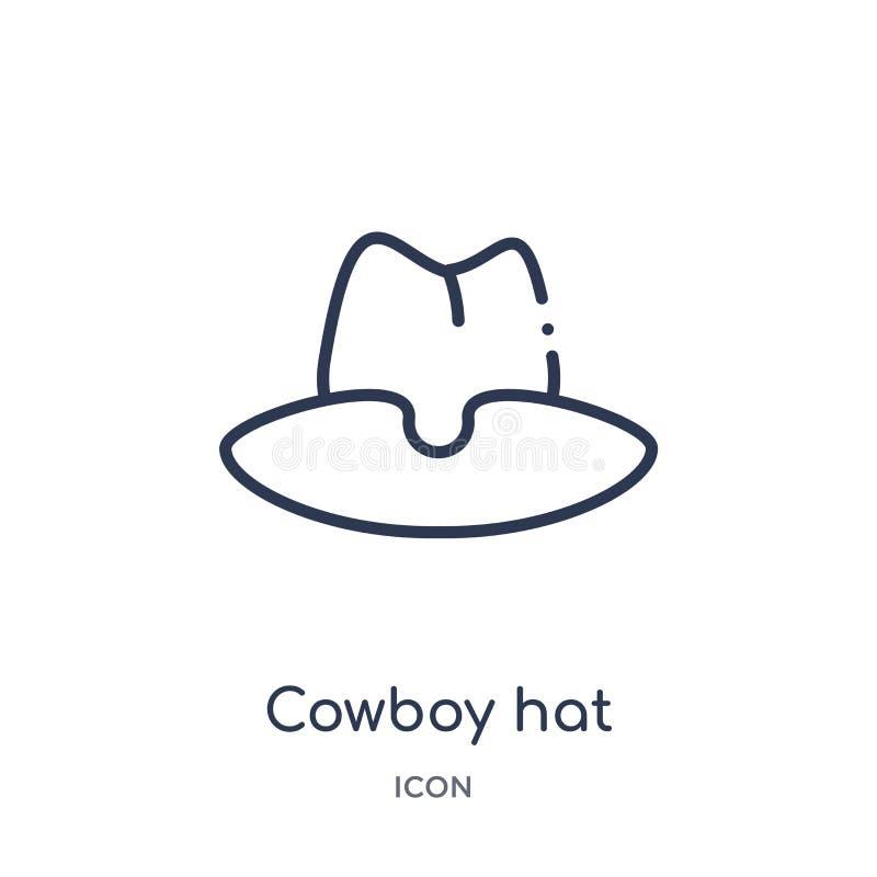 Ícone linear do chapéu de vaqueiro da coleção do esboço do deserto Linha fina vetor do chapéu de vaqueiro isolado no fundo branco ilustração do vetor