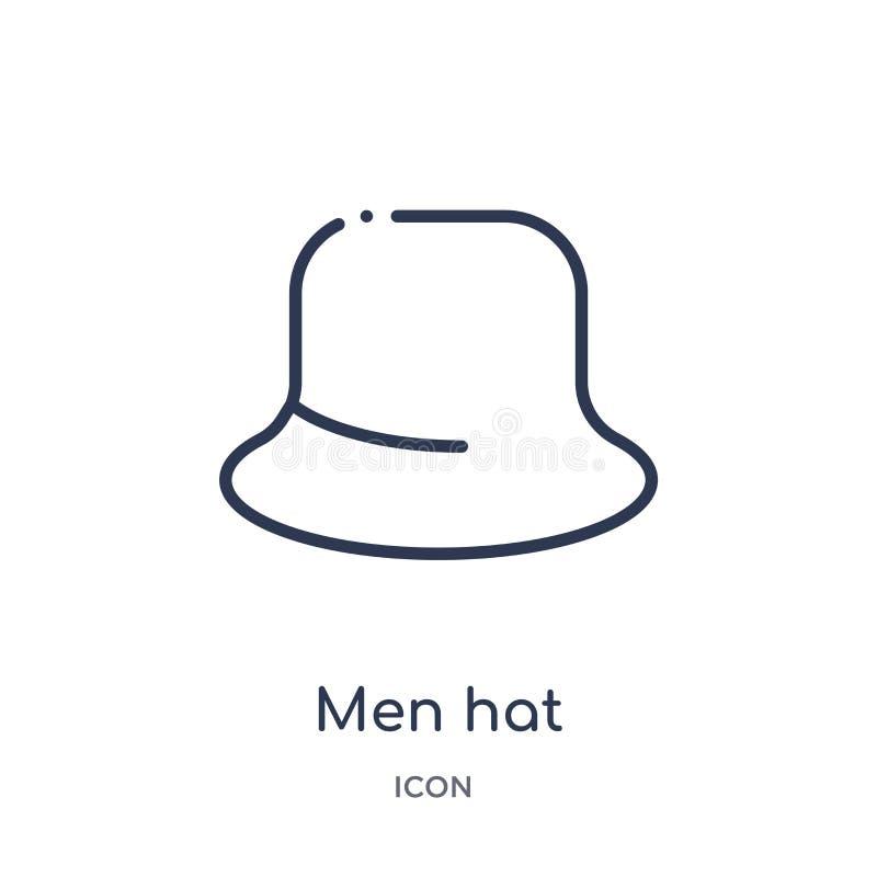 Ícone linear do chapéu dos homens da coleção do esboço da roupa Linha fina vetor do chapéu dos homens isolado no fundo branco cha ilustração stock