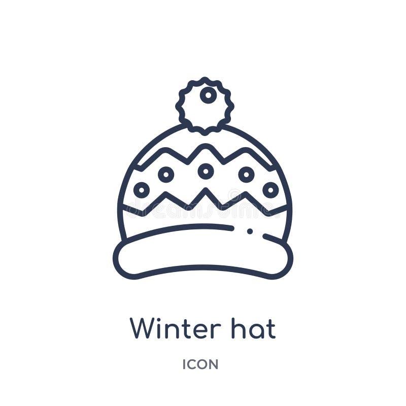 Ícone linear do chapéu do inverno da coleção do esboço do outono Linha fina vetor do chapéu do inverno isolado no fundo branco ch ilustração do vetor