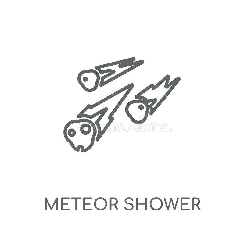 Ícone linear do chuveiro de meteoro Engodo moderno do logotipo do chuveiro de meteoro do esboço ilustração do vetor