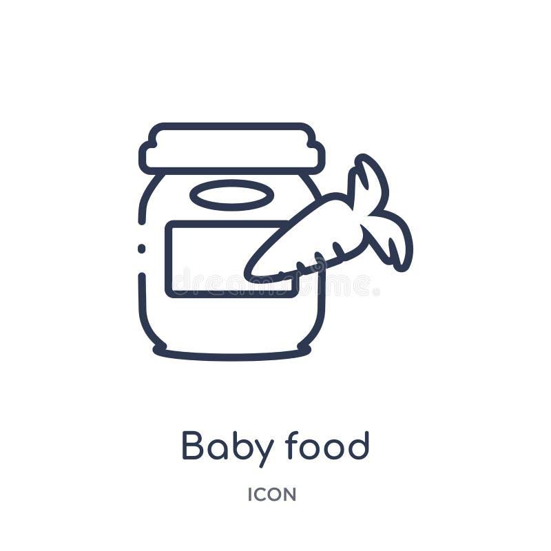 Ícone linear do comida para bebê da coleção do esboço da criança e do bebê Linha fina ícone do comida para bebê isolado no fundo  ilustração do vetor