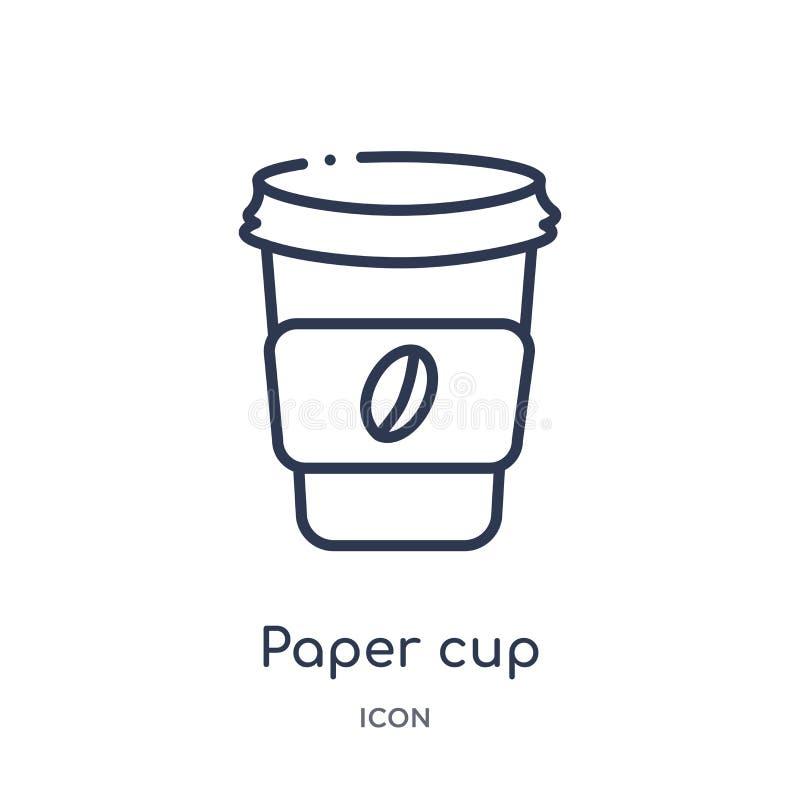 Ícone linear do copo de papel da coleção do esboço das bebidas Linha fina vetor do copo de papel isolado no fundo branco copo de  ilustração do vetor