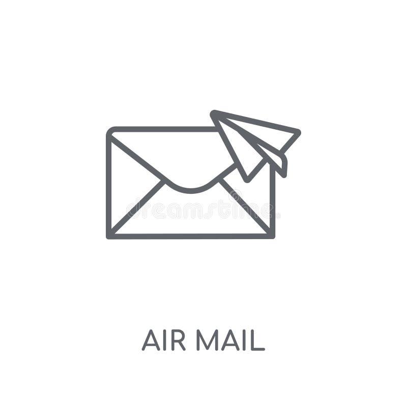 Ícone linear do correio aéreo Conceito moderno do logotipo do correio aéreo do esboço no wh ilustração stock
