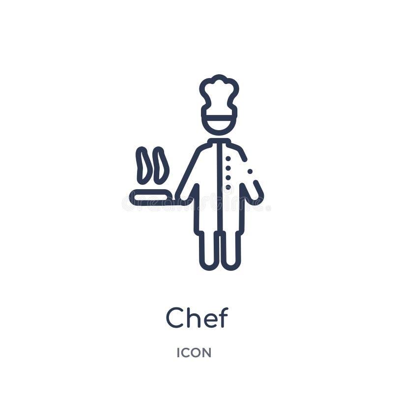 Ícone linear do cozinheiro chefe da coleção do esboço dos lucros do trabalho Linha fina ícone do cozinheiro chefe isolado no fund ilustração royalty free
