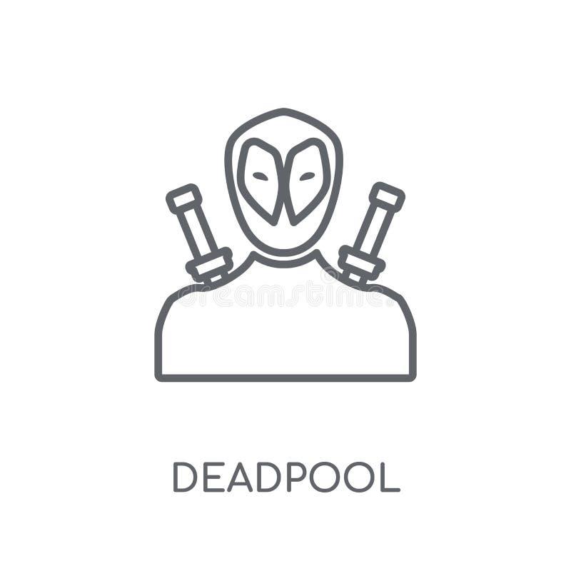 ícone linear do deadpool Conceito moderno do logotipo do deadpool do esboço no wh ilustração stock